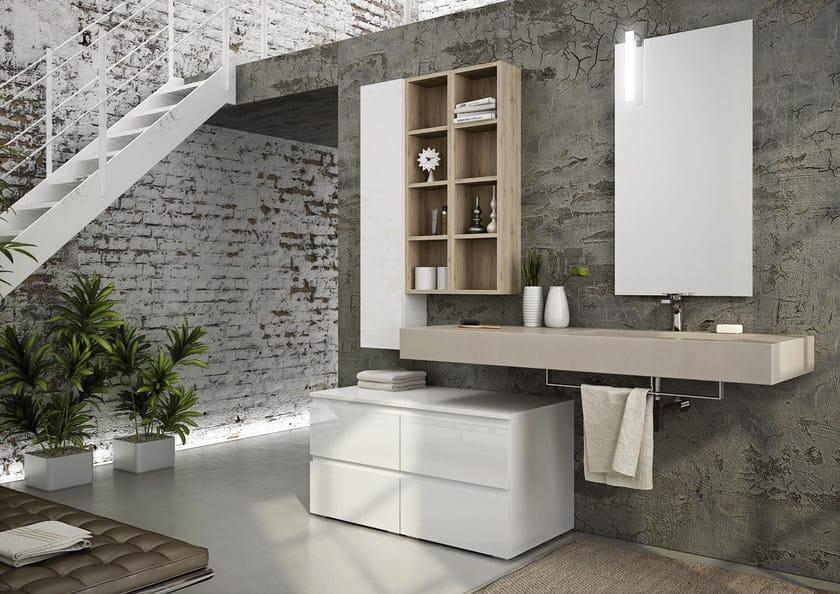 Sectional single wall-mounted vanity unit FREEDOM 09 - LEGNOBAGNO