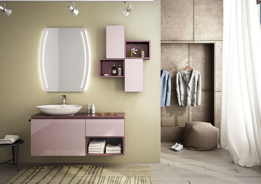 Sectional single wall-mounted vanity unit FREEDOM 11 by LEGNOBAGNO