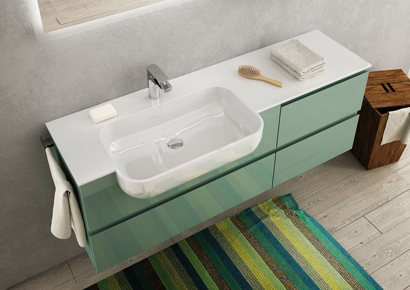 Sectional single wall-mounted vanity unit FREEDOM 15 by LEGNOBAGNO