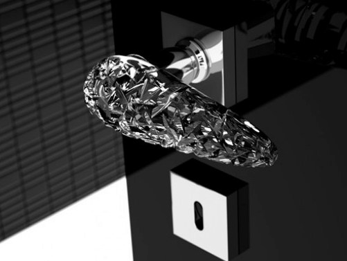Crystal door handle with polished finishing ICE - Glass Design