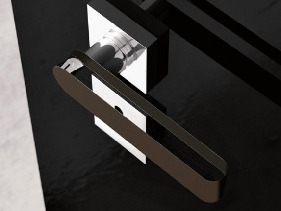 Chrome-plated crystal door handle ROUND HOME TRANSPARENT/MOKA - Glass Design