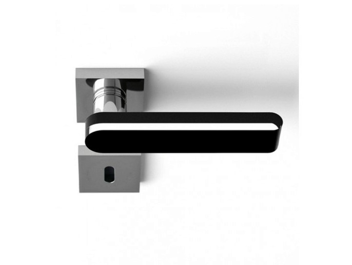 Chrome-plated crystal door handle ROUND HOME TRANSPARENT/BLACK - Glass Design