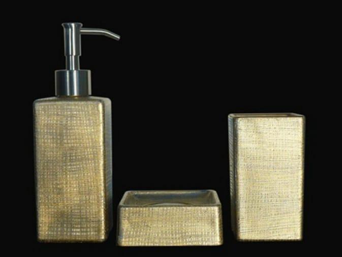 Countertop glass soap dish VENICE SET ORO/ARGENTO - Glass Design