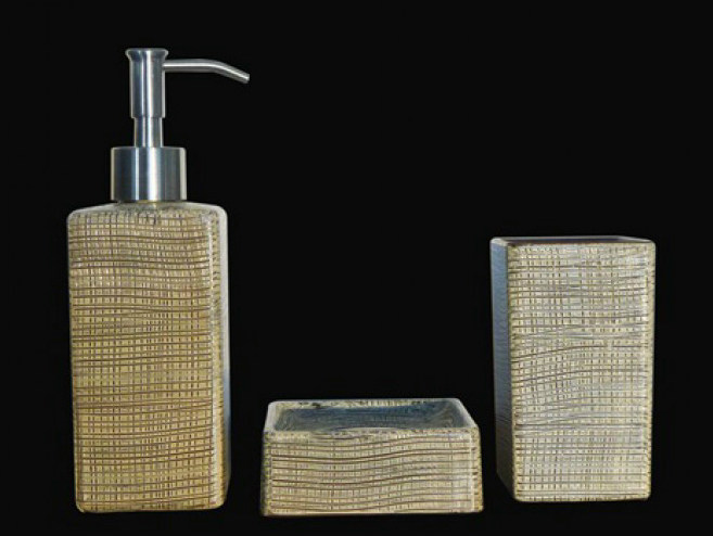 Countertop glass toothbrush holder VENICE SET BROWN/IVORY - Glass Design