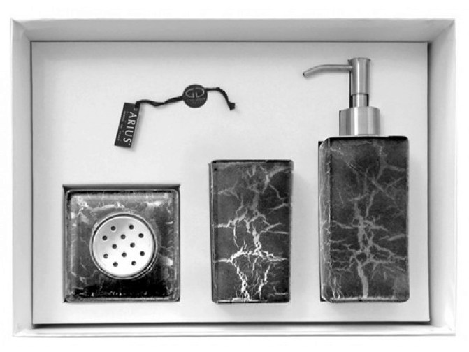Countertop glass soap dish KALAHARI SET BLACK/SILVER - Glass Design