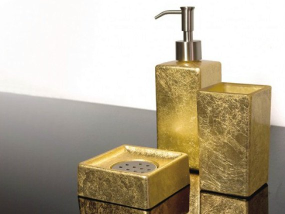 Countertop glass soap dish LUXURY SET GOLD LEAF - Glass Design