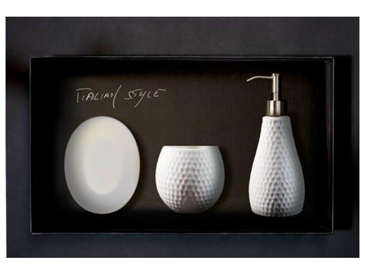 Countertop Vetro Freddo® soap dish GOLF SET BIANCO by Glass Design
