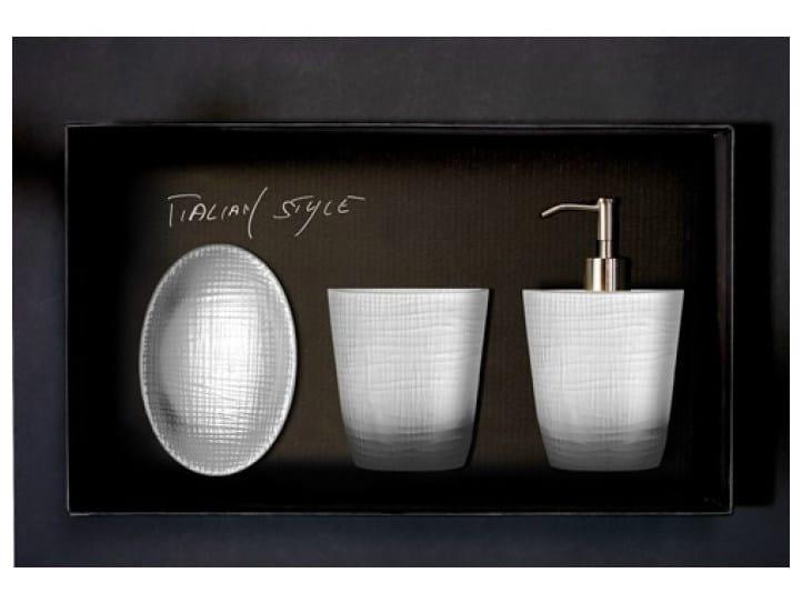 Countertop soap dish FROZEN SET WHITE by Glass Design