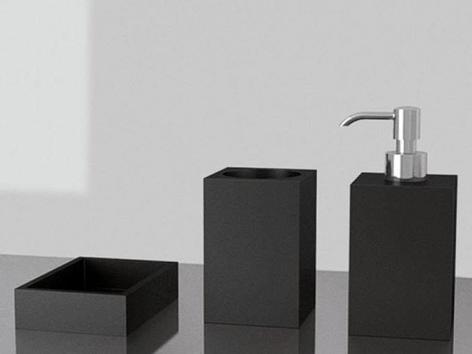 Countertop Vetro Freddo® soap dish NAVY SET BLACK - Glass Design
