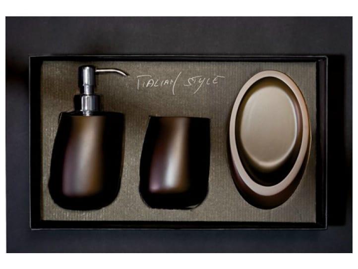 Countertop Vetro Freddo® soap dish KLEISS SET MOKA by Glass Design