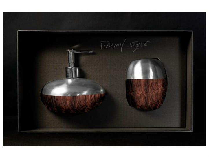 Liquid soap dispenser / toothbrush holder GLAMOUR SET BROWN/BLACK by Glass Design