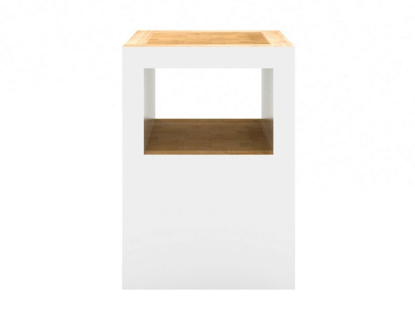 Wooden stool BLOCK STOOL OPEN by Universo Positivo
