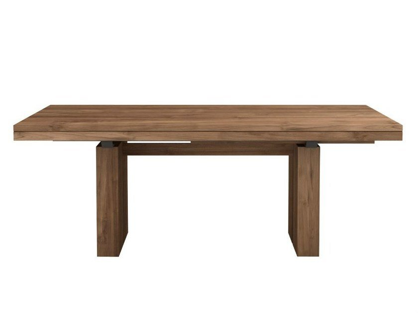 Extending rectangular teak table TEAK DOUBLE | Extending table by Ethnicraft
