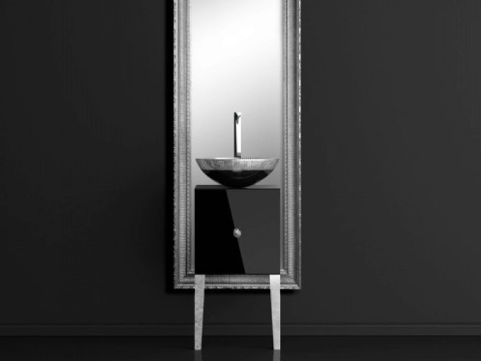 Lacquered wooden vanity unit with mirror MONNALISA CLASS FILIGRANA BLACK/SILVER - Glass Design