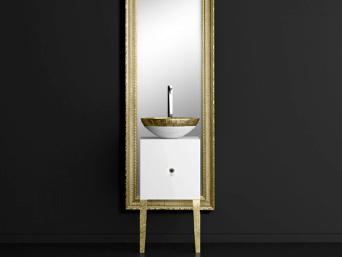 Single wooden vanity unit with mirror MONNALISA CLASS FILIGRANA WHITE/GOLD - Glass Design
