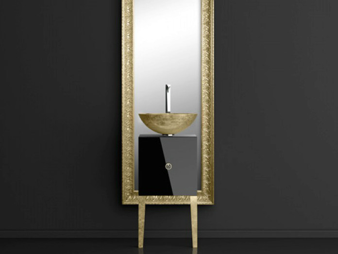 Single wooden vanity unit with mirror MONNALISA FLORENCE BLACK MOSAIC GOLD - Glass Design