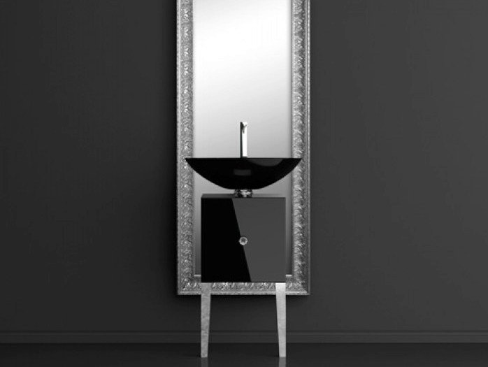 Single wooden vanity unit with mirror MONNALISA FLORENCE COLLIER BLACK - Glass Design