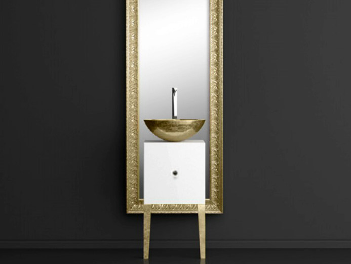 Single wooden vanity unit with mirror MONNALISA FLORENCE WHITE MOSAIC GOLD - Glass Design