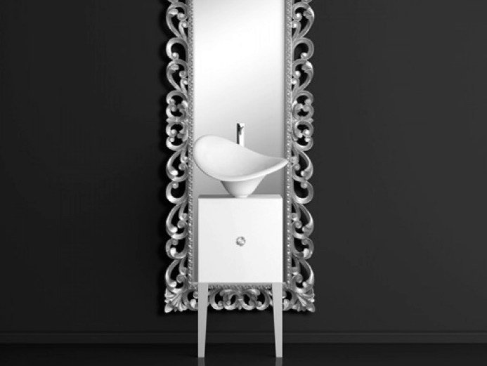 Single wooden vanity unit with mirror MONNALISA PRESTIGE FLOWER WHITE - Glass Design