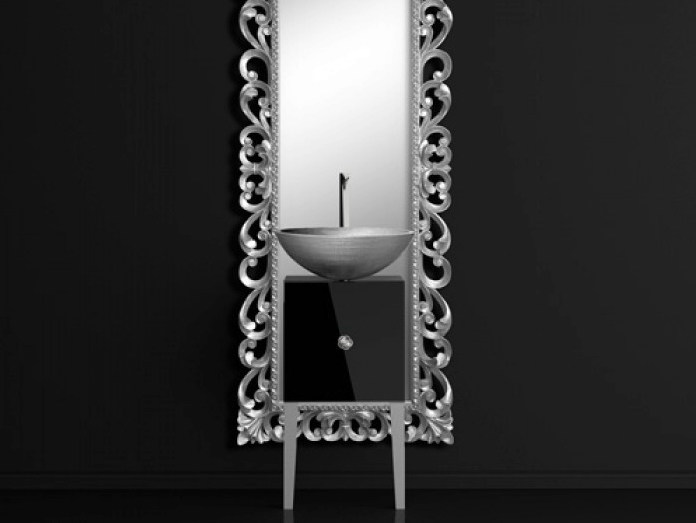 Single wooden vanity unit with mirror MONNALISA PRESTIGE VENICE BLACK/SILVER - Glass Design