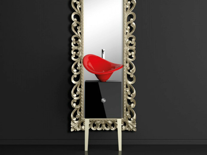 Single wooden vanity unit with mirror MONNALISA PRESTIGE FLOWER RED FERRARI by Glass Design