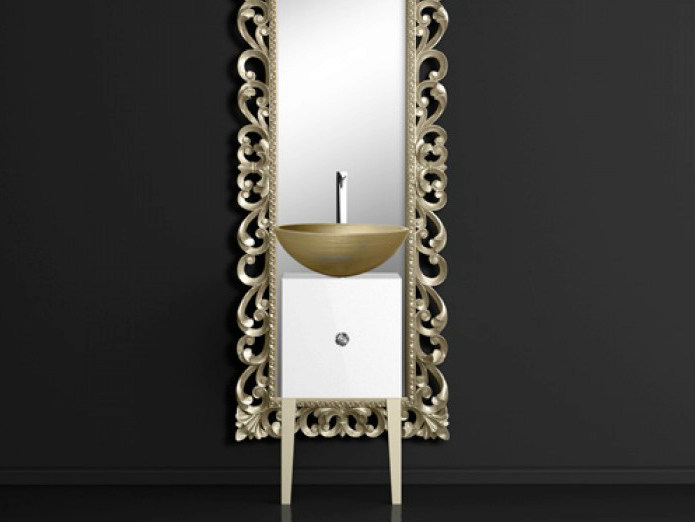 Single wooden vanity unit with mirror MONNALISA PRESTIGE VENICE GOLD/SILVER by Glass Design