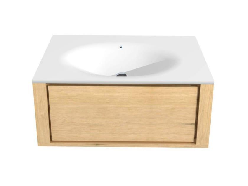 Single wall-mounted oak vanity unit with drawers OAK QUALITIME | Single vanity unit - Ethnicraft