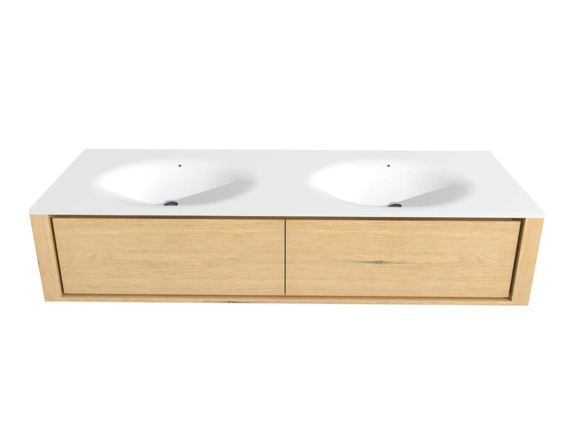 Double wall-mounted oak vanity unit with drawers OAK QUALITIME | Vanity unit - Ethnicraft