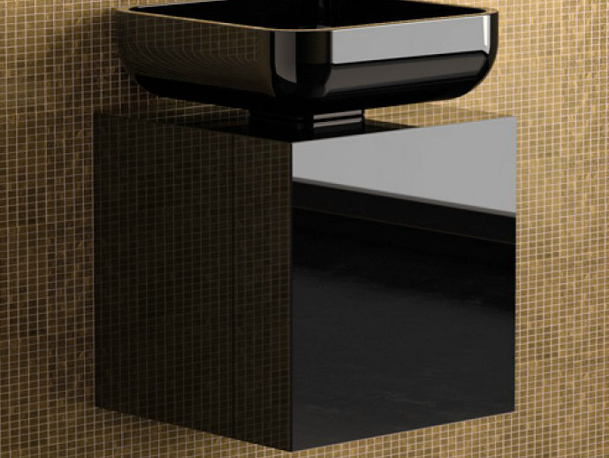 Lacquered single wooden vanity unit LEONARDO CUBUS BLACK JIMMY SMALL BLACK - Glass Design