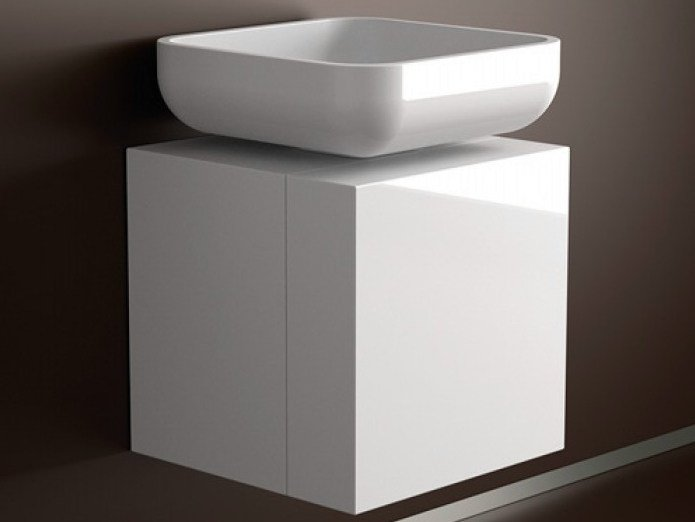 Lacquered single wooden vanity unit LEONARDO CUBUS WHITE JIMMY SMALL WHITE by Glass Design