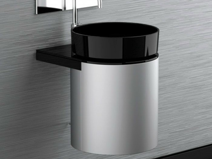Lacquered wall-mounted wooden vanity unit LEONARDO KOIN MEDIO DARK INOX RHO BLACK - Glass Design