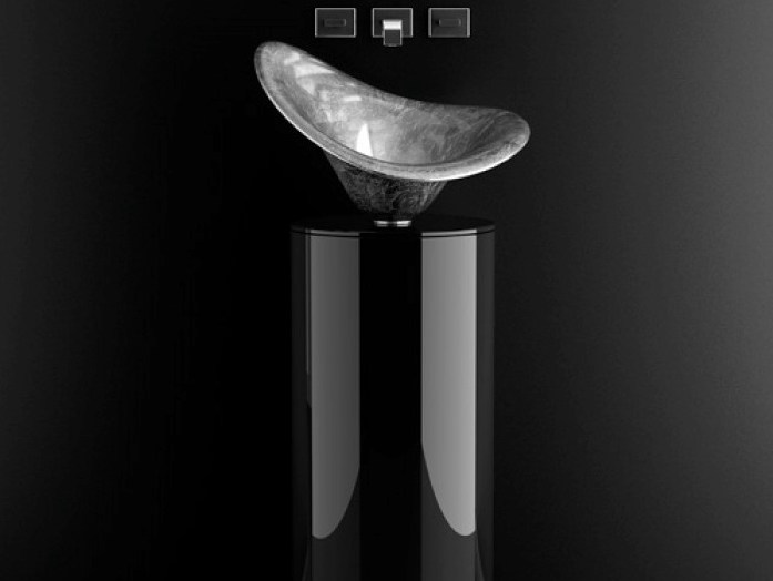 Floor-standing lacquered wooden vanity unit LEONARDO KOIN XL FLOWER SILVER by Glass Design