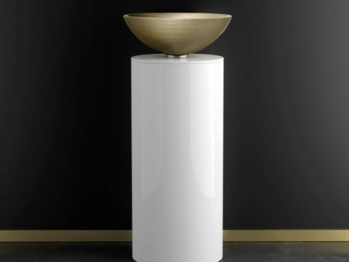 Floor-standing lacquered wooden vanity unit LEONARDO KOIN XL VENICE GOLD/SILVER - Glass Design