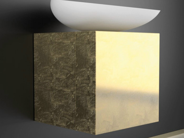 Lacquered single wall-mounted vanity unit LEONARDO CUBUS GOLD LEAF KOOL MAX WHITE - Glass Design