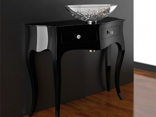 Floor-standing console sink with drawers LEONARDO CANTO XL BLACK ICE OVAL - Glass Design