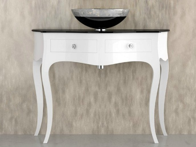 Floor-standing console sink with drawers LEONARDO CANTO XL WHITE FLARE TECH BLACK - Glass Design