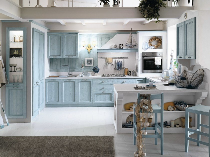 Wooden kitchen with peninsula EVERY DAY | Kitchen with peninsula by Callesella Arredamenti