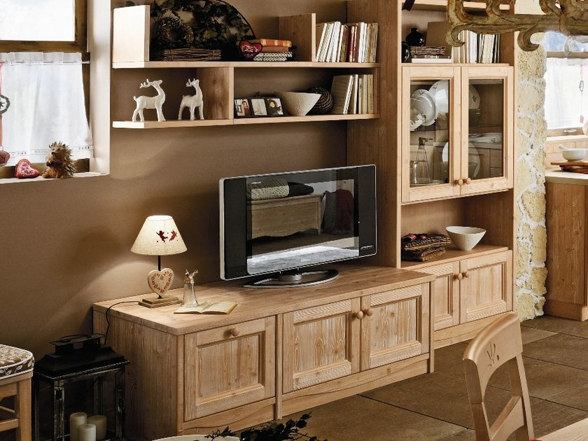 Wooden TV wall system EVERY DAY | Storage wall - Callesella Arredamenti S.r.l.