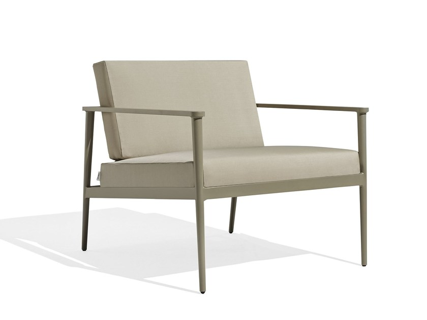 Upholstered fabric garden armchair with armrests VINT LOUNGE - Bivaq