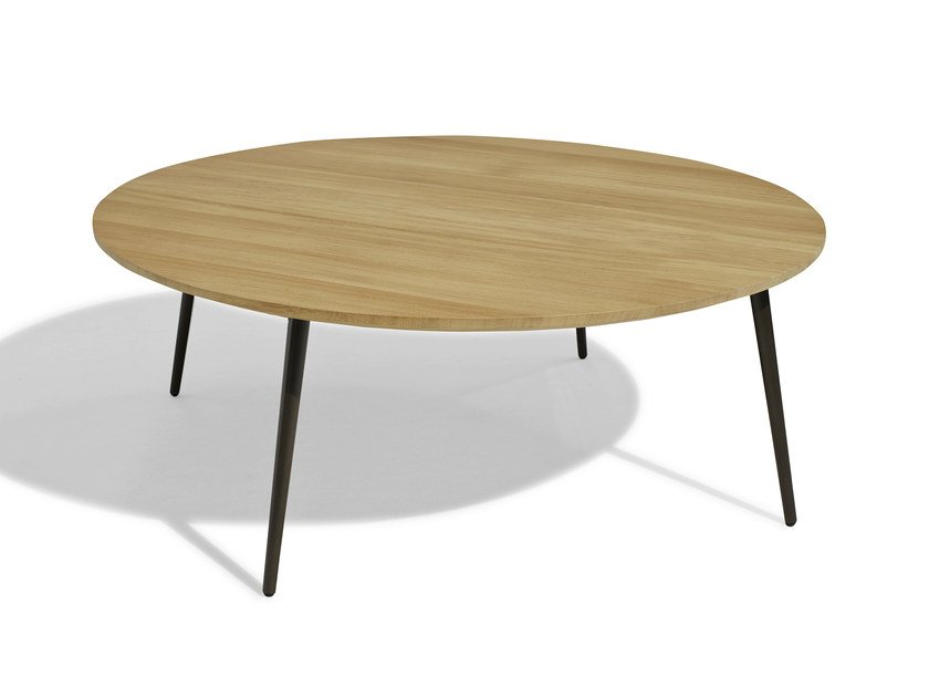 Low round wood-product garden side table VINT | Garden side table by Bivaq