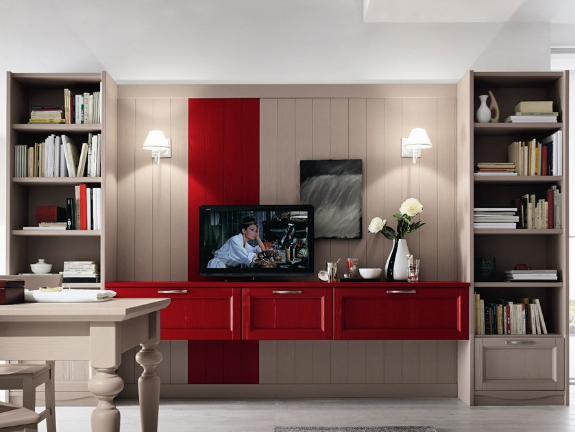 Wall-mounted wooden TV wall system EVERY DAY | Wall-mounted storage wall - Callesella Arredamenti S.r.l.