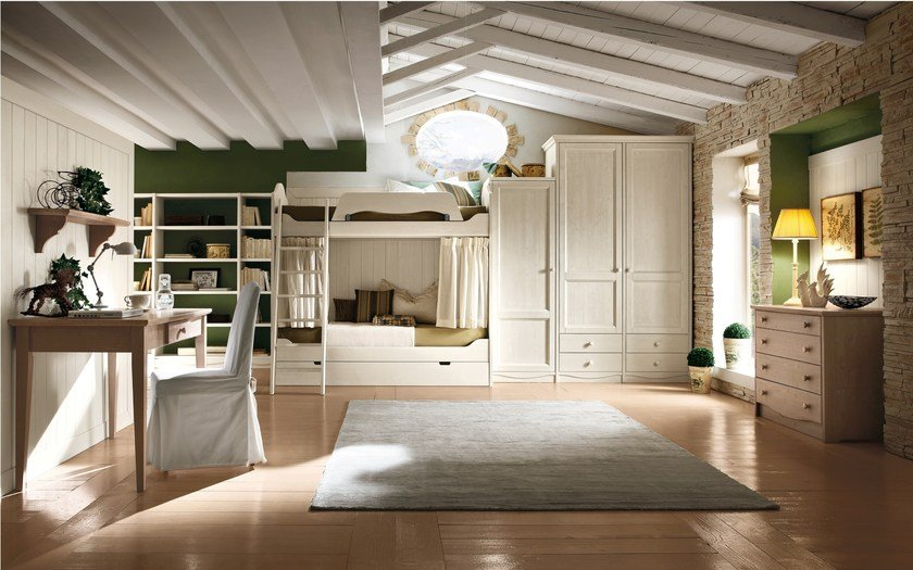 Classic style wooden teenage bedroom with bunk beds for boys/girls EVERY DAY NIGHT | Composition 11 - Callesella Arredamenti S.r.l.