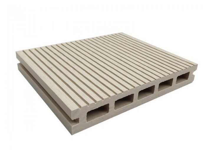 WPC outdoor floor tiles / decking Hollow Profile White - NOVOWOOD