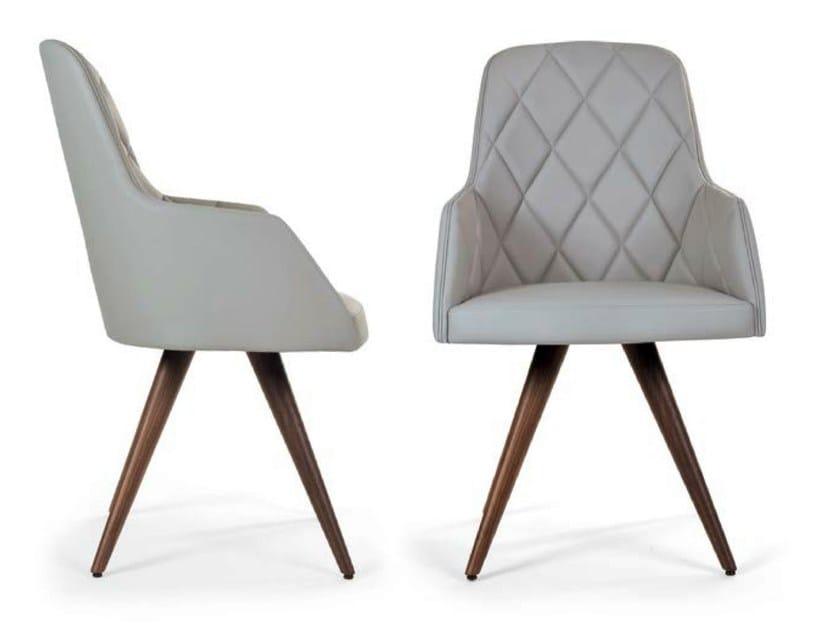 Upholstered leather chair MARLÈNE WOOD CONE | Tufted chair - Riccardo Rivoli Design