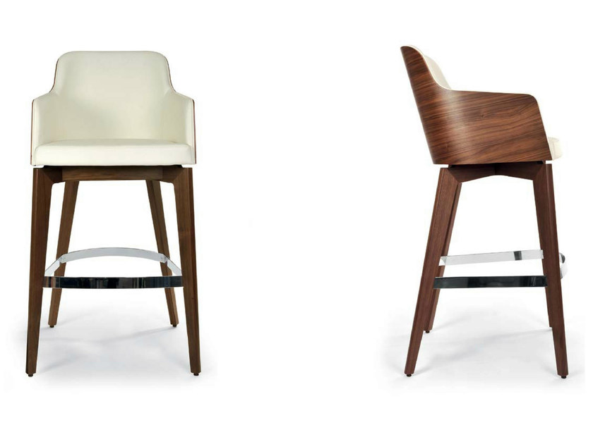 Upholstered leather counter stool with armrests MARLÈNE WOOD | Counter stool - Riccardo Rivoli Design