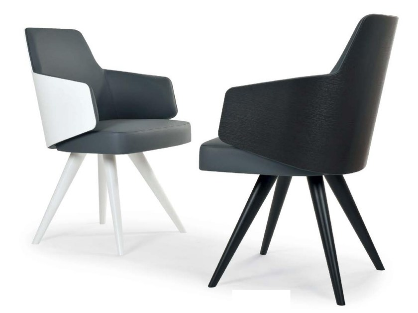 Upholstered chair with armrests MIA WOOD CONE | Chair with armrests - Riccardo Rivoli Design