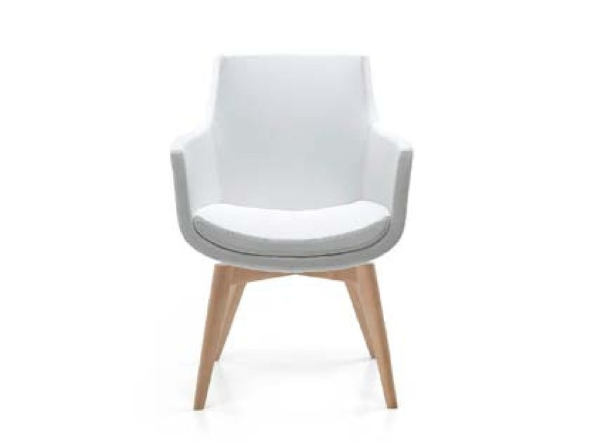 Upholstered fabric easy chair with armrests FELIX WOOD - Riccardo Rivoli Design