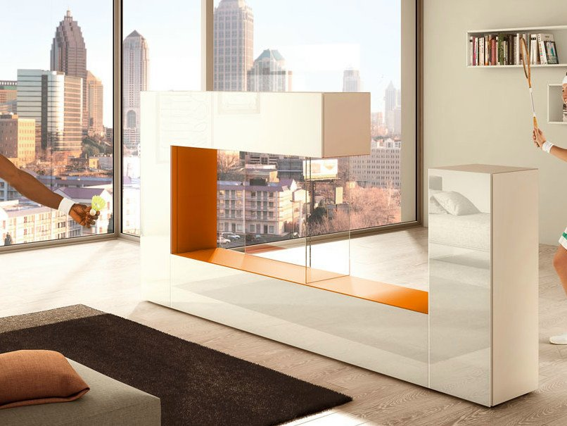 Freestanding divider wood and glass storage wall AIR SIDE by Lago