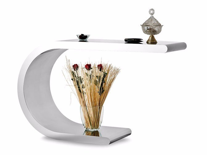 Stainless steel console table ARCO - Lamberti Decor