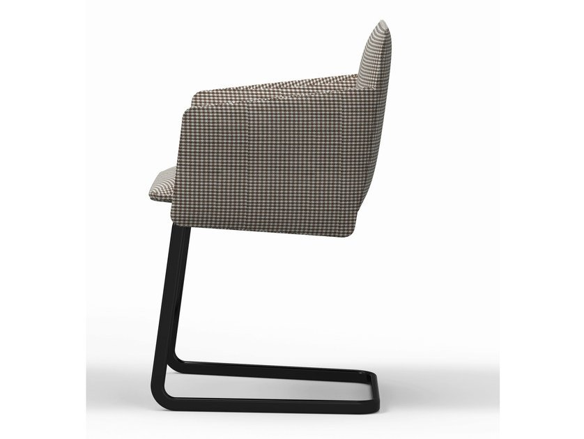 Cantilever upholstered chair with armrests AURA | Cantilever chair - Crassevig